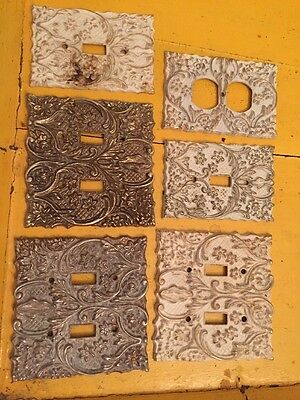 Lot X6Ornate Vintage Floral Double Plug Metal Outlet Cover Architectural Switch