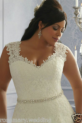 New Plus Size White/Ivory Satin Lace Beaded Bridal Gown Wedding Dress:14--26 +