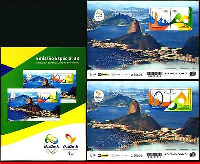 16-24 Brazil 2016 Special Edition, 3D Stamps, Olympic Games Rio 2016, 2 Ms Mnh