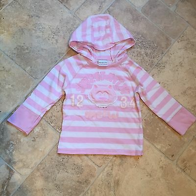 Next Girls Hoodie Top Pink/White Age 18 Months - 2 Years