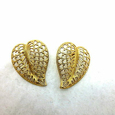 Vintage Goldtone Filigree Leaf Shape Pierced Earrings