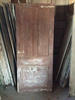 ANTIQUE DOOR NEW ENGLAND 18th CENTURY INTERIOR 3 RAISED PANEL DOOR ORIGINAL RED
