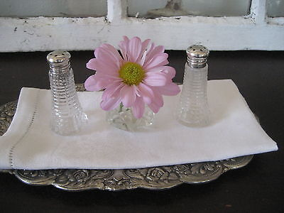 ~STERLING Silver & Diamond Point Depression Glass Petite Salt & Pepper Shakers~