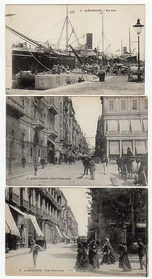Alexandrie Port And Street Scenes Postcards