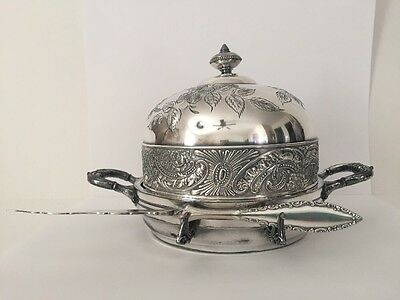 Knickerbocker Silver Co Butter Cheese Dome Dish And Rogers & Bros Twisted Knife