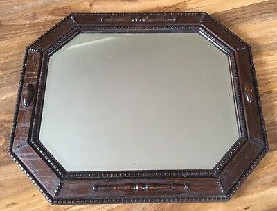 Antique Vintage Oak Framed Bevelled Edge Mirror Arts And Crafts Wall Mirror