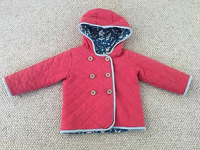 Baby Boden Girl's Quilted Cosy Padded Reversible Hooded Jacket Coat 2-3