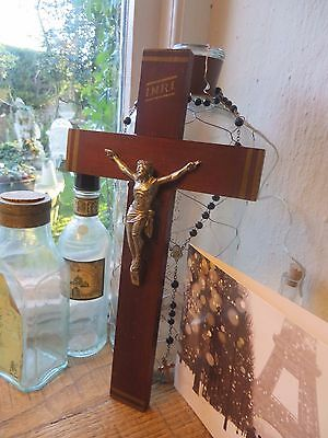 VINTAGE FRENCH WOODEN CRUCIFIX / CROSS 1940's ~ RELIGION /SPIRITUALITY