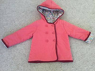 Baby Boden Girl's Quilted Cosy Padded Ditsy Floral Hooded Jacket Coat 2-3