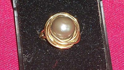 14Ct Gold Ring Set With Rare Black Pearl