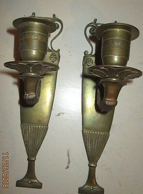 Pair of Vintage Brass Candle Wall Sconces Roman Urn Shape