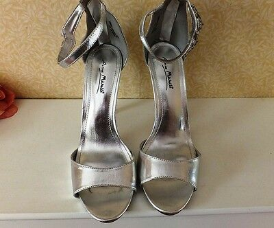 ANNE MICHELLE Silver Ankle Strap with Jewel Leopard Sandals Size 8.5