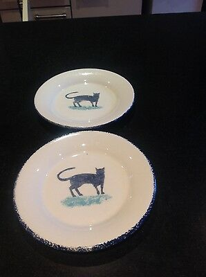 Dorset Delft, Hinchcliff and Barber pottery, sponge ware, two plates, cat design