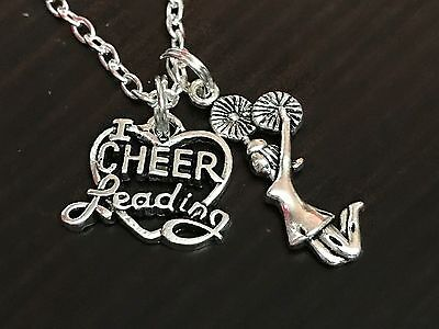 "Cheerleader Cheerleading Heart Charm Tibetan Silver 18"" Necklace"