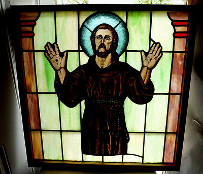 Antique Church Stained Glass Window Architectural Salvage Saint Francis