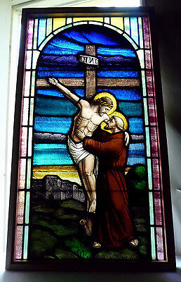 Antique Vtg Church Stained Glass Window Architectural Saint Francis and Jesus