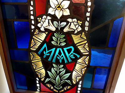 Antique Vtg Church Stained Glass Window Architectural Salvage Virgin Mary 167S