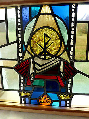 Antique Vtg Church Stained Glass Window Architectural Salvage Virgin Mary 167H