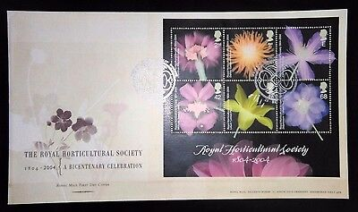 2004 Royal Horticultural m/s first day cover with Wisley special handstamp
