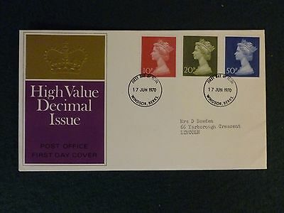 1970 MACHIN,  10p, 20p + 50p  STAMPS , FIRST DAY COVER  Windsor Postmark