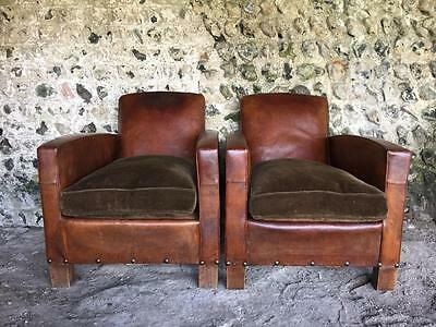 Beautiful Pair French Antique Chestnut Leather Club Arm Chairs C1950 Vintage