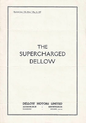 The Supercharged Dellow Official Period Article Reprint From The Motor.