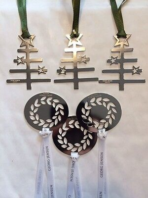 6 Georg Jensen Christmas Decorations Silver Trees & Wreaths gift wrapped NEW bq2