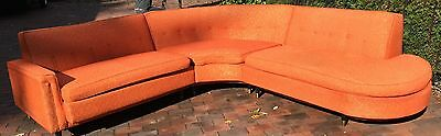 Vintage 1950s 50s Atomic Orange and Metallic Gold Amoeba Sectional Couch Sofa