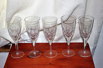 Set Of 5 Cut Glass Wine Glasses Great Condition