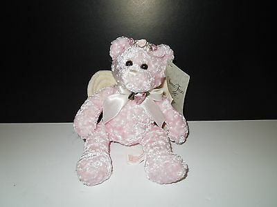 NWT AmeriGift Pink Chenille Angel Bear with Floral Halo