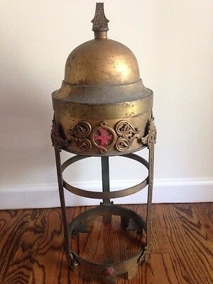 Antique Solid Brass Church Hanging Light Fixture Large Gothic Ornate Cross Red