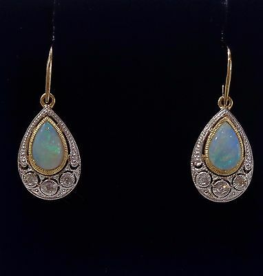 Natural Opal and Diamond Drop Earrings in 9ct Yellow Gold - Pear Shaped