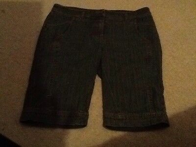Ladies Size 12 NEXT Knee Length shorts Great Condition Blue