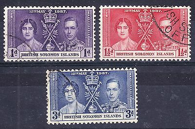 Solomon Islands, 1937, Coronation,  SG57 - 59, Sc64 - 66, used.