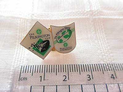 """Vintage """"The Pilkington Cup / shield""""  rugby lapel pin badge"""
