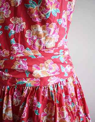 1980s Vintage Red Floral Dress, Laura Ashley, M