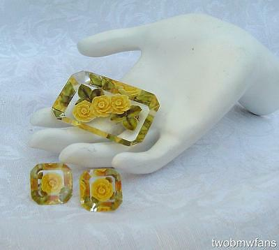 Vintage Reversed Carved Yellow Rose Acrylic / Lucite Pin & Earrings Set