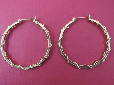 Large Rare Size 14k Solid Yellow Gold Twisted Wire Hoop Earrings 4 Inches Dia.