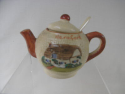 Vintage Pottery Teapot Shaped Mustard Pot with Spoon : Souvenir from Hereford
