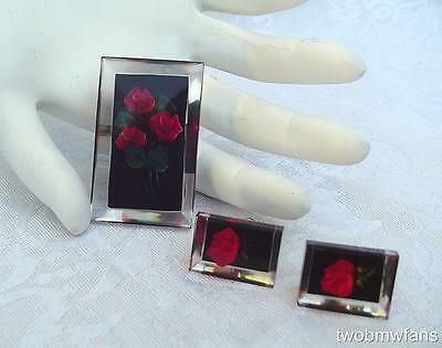 Vintage Acrylic / Lucite Reversed Carved Pin & Earrings Set