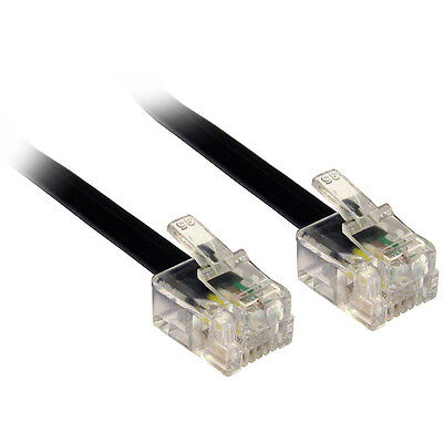 Black 20m 66'ft ADSL RJ11 M-M Cable Lead Wire for ADSL Broadband Router Modem