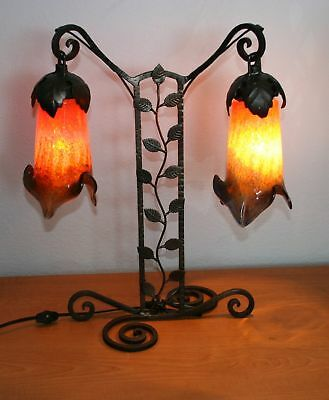 Modern Art Deco Wrought Iron Table Lamp & Multi-Color Glass Shades  Europe