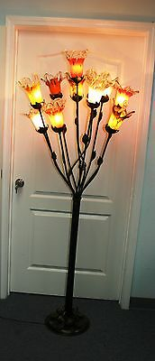 Modern Art Deco Wrought Iron Floor Lamp &11  Multi-Color Glass Shades Europe  #5