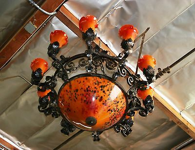 Art Deco  Style  Heavy Duty Wrought Iron Chandelier & Multi-Color Glass Shades