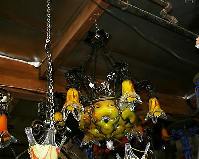 Art Deco Stl Handmade Wrought Iron 6 Lights Chandelier &  Blown Glass Shades