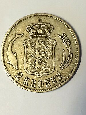 DENMARK CHRISTIAN IX SILVER  2 KRONE 1876 KM #  798.1 nr extremely fine ef coin