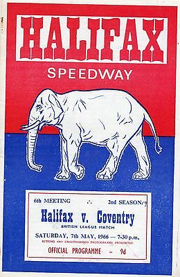 Halifax v Coventry speedway programme - 7/5/66