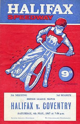Halifax v Coventry speedway programme - 6/5/67