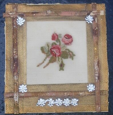 UNUSUAL19th Century CARD EMBROIDERY, Antique needlework sampler DOLLS HOUSE