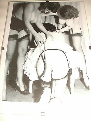 """""""Bare Bottom Whipping"""" Picture in 7""""x5"""" Frame.Bare Breasts.Spanking.Stockings."""